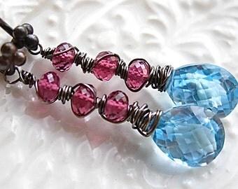 Blue Topaz Linear Earrings Wire wrapped Linear gemstones blue topaz and garnet earrings