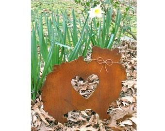Pomeranian Dog Metal Garden Stake - Metal Yard Art - Metal Garden Art - Pet Memorial