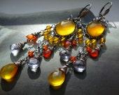 Lemon curd wire wrapped chandelier earrings - yellow chalcedony, carnelian, mystic blue quartz and sterling silver