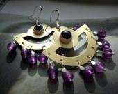 Maya earrings - brass, fine silver and amethyst