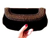 Vintage Brown Velvet Beaded Clutch - Chocolate Brown Ladies Purse