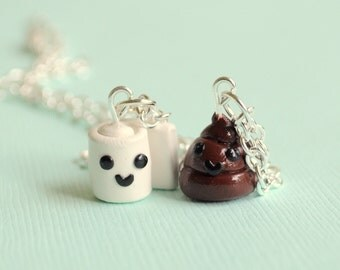 Best Friend Poo and Toilet Paper Necklaces, BFF charms, Kawaii Poop and Toilet Paper charms