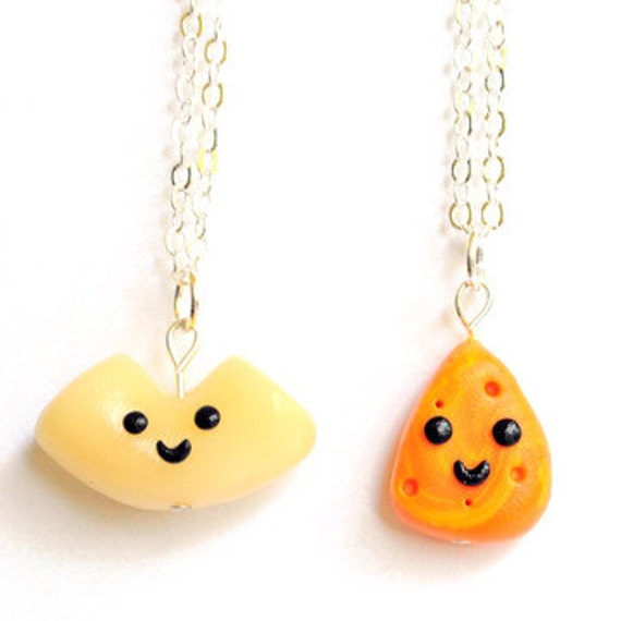 Kawaii Friendship Macaroni and Cheese Best Friend Necklaces Miniature Food Jewelry