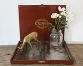 SALE antique 40s Otto Eisenlohr and Bros Greetings Cigar Box Divide Cognac Brown