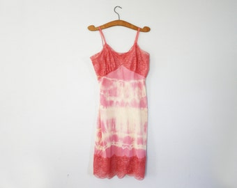 vintage 60s Van Raalte Opaquelon Upcycled Hand Tie Dyed Rose Pink and Lemon Yellow Full Slip Dress- L XL