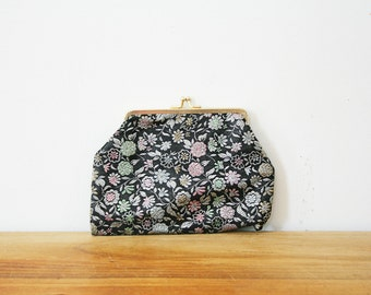 vintage 60s Pink and Green Floral Brocade Change Purse