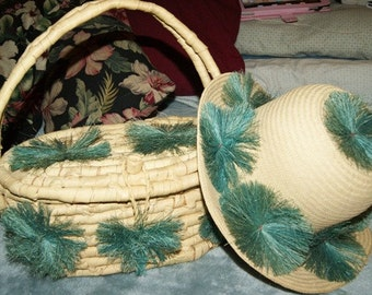 SALE 1960s Straw Purse and Hat