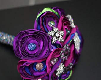 Peacock Satin and Button Bouquet - Brooches and Beaded Handle