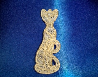 Lace cat ornament or bookmark