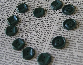 Eleven Vintage Plastic Dark Teal Sew Thru Buttons