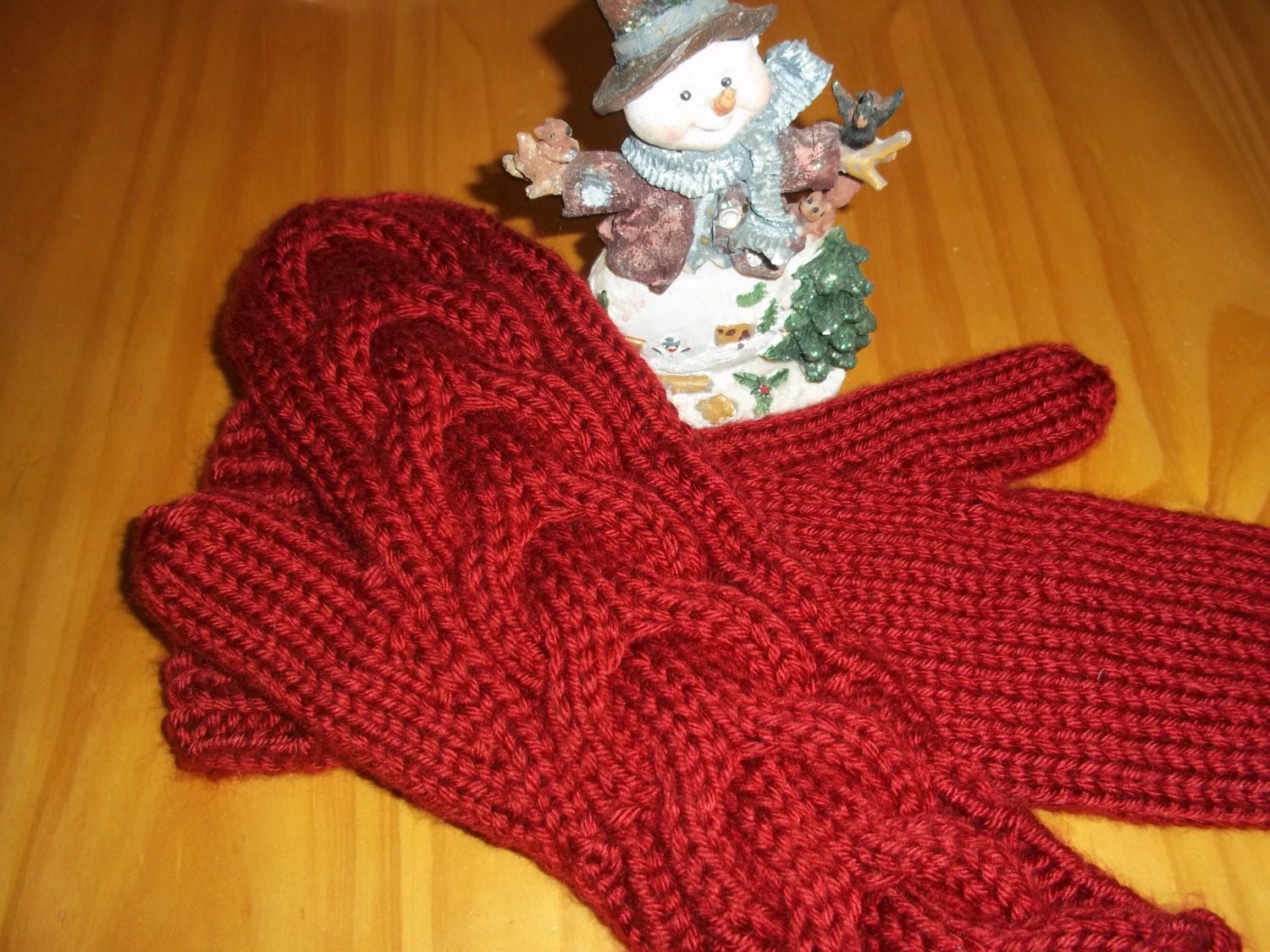 Knitting Pattern For Bella Mittens : Warm Winter Mittens, Cozy and Thick Red Womens Hand Knit Mittens, Twilight In...