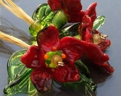 Lampwork Glass Flower Beads, a set of 3 Red Flowers and 4 Green Leaves, Made to Order
