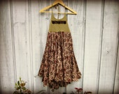 Festival Halter Trapeze Dress// Medium// Upcycled Bohemian Summer Dress