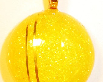 Dazzling Yellow Round 34mm Handmade Handcrafted Pendant Women's Fashion Jewelry with Necklace