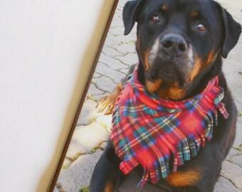 Dog Scarf, polartec, red plaid or yellow plaid.