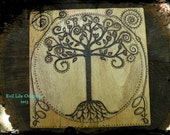Tree of Life Woodburned Folk Art Decor Altar Decor