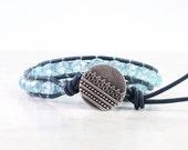 Custom Listing for Barbara - Single Baby Blue Leather Wrap Bracelet