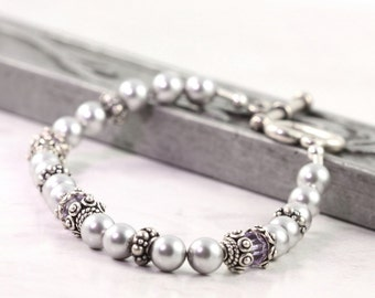 Crystal Birthstone Bracelet Gray Pearl Crystal Sterling Silver Custom Personalized Jewelry Beaded Bracelet