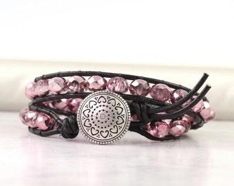 Shiny Pink Wrap Bracelet Summer Fashion Double Wrap Boho Bracelet Bohemian Jewelry Iridescent Black Leather Wrap Bracelet Beaded Wrap