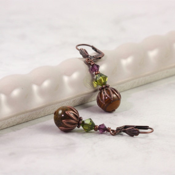 Amethyst Crystal Earrings Olive Green Tiger Iron Copper Ear Wires February Birthday Mothers Day Jewelry