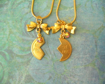Best Friend Necklace with Bow Sisters or Friends Jewelry