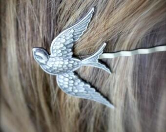 FREE SHIPPING. Bird. Silver Sparrow Bobby Hair Piece- Bridesmaid Multiples discount available