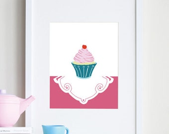 Cupcake art print, baby girl room decor - different sizes and colors available