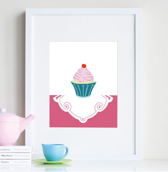 cupcake art print baby girl room decor different sizes and colors
