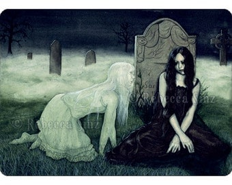 Moonlight Apparition ACEO Print Gothic Ghost Cemetery Artist Trading Cards ATC Fantasy Art Supernatural Paranormal Afterlife Spooky