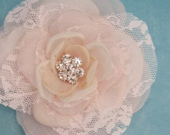 Blush Pink Lace, Organza Rose Hair Clip  C290, budget bridal hair accessory