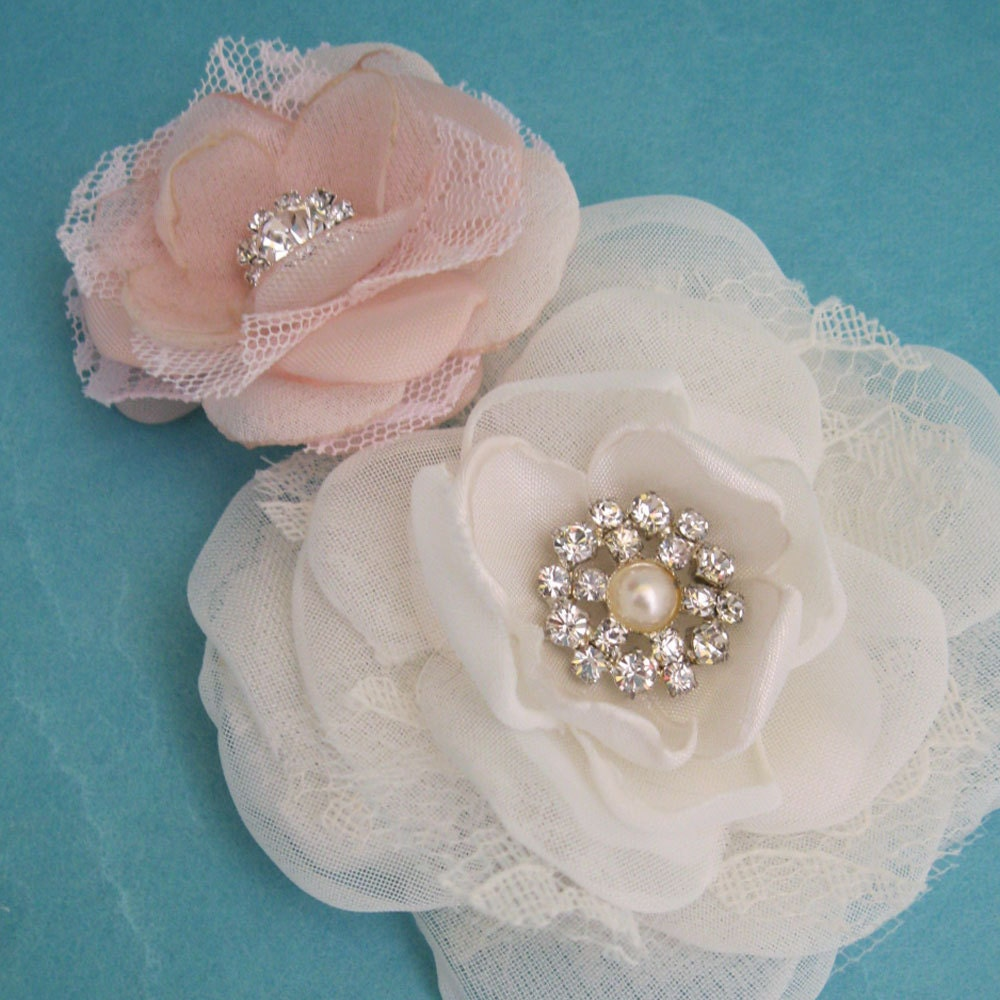 Wedding Hair Flowers Pink : Wedding hair flower set blush pink organza lace rose