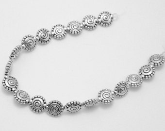 19 Flat Spiral w Dotted Edge 10mm Antique Silver Base Metal Beads Lead/Nickel Free 0897S CT