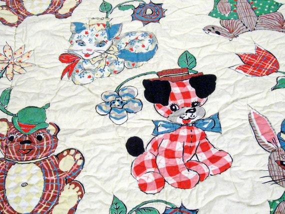 Vintage Handmade Baby Quilt Whimsical Animal Print Fabric