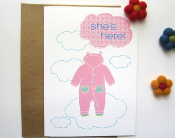 New Baby Congratulations, Birth Congratulation Card, New Born Baby Cards, New Born Baby Girl
