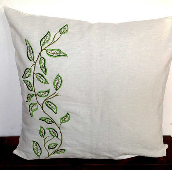 Embroidered leaves decorative pillows off white linen