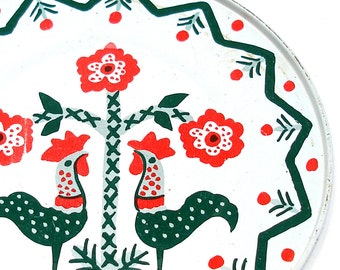 60's Tin Toy Tea plate, Rooster & flower graphics.