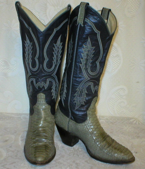 Boots Larry Mahan Cowgirl Ladies Western Python Snake Skin