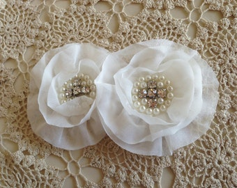 FLOWERS-Rhinestone and Pearl Center WHITE--set of 2-4 inches wide