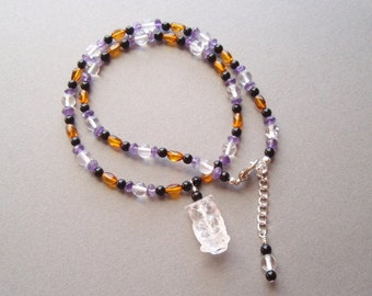Crystal Owl - Carved Clear Quartz Crystal Owl Amber Amethyst and Onxy Beads Gemstone Adjustable Necklace Lobster Claw Clasp