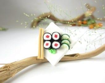 White Tuna Maki Sushi Ring  - polymer clay food jewelry , food ring
