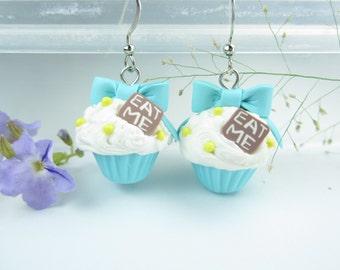 Eat Me Bow Cupcake Earrings Blue - Food Jewelry, food earring polymer clay