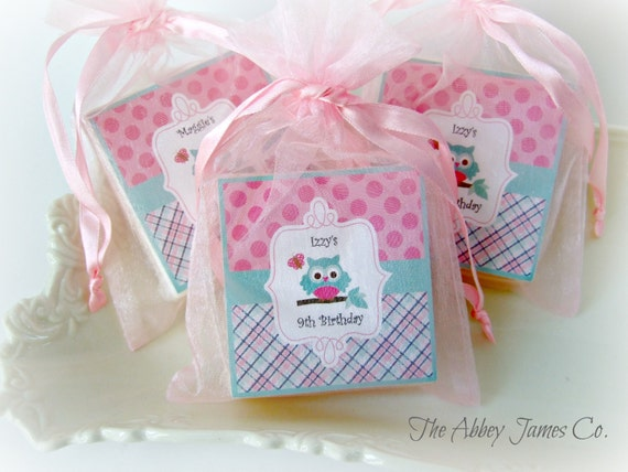 owl favors owl party favors owl baby shower set of 10 soap favors