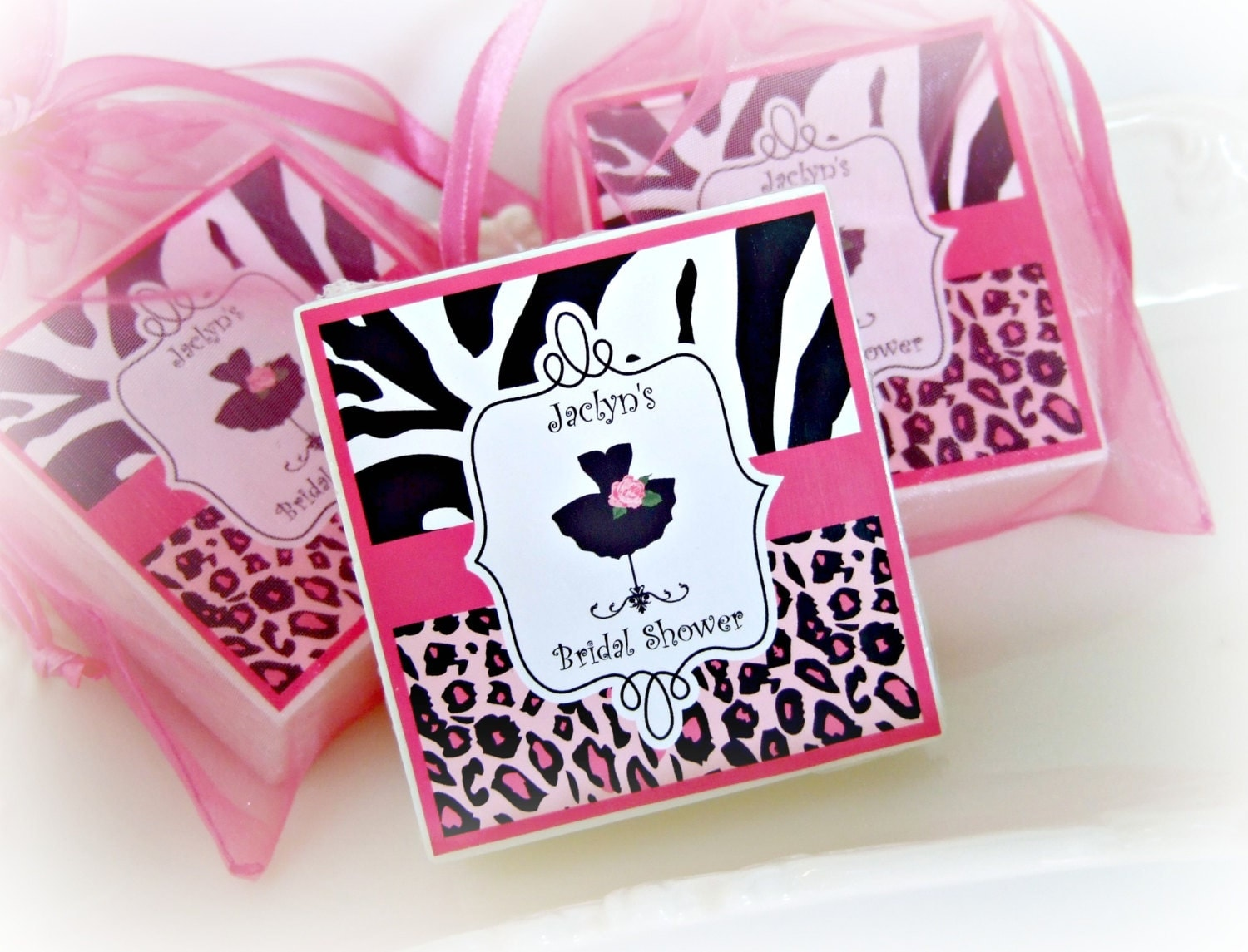 Bridal shower favors leopard print party favor shabby chic for Animal print party decoration ideas