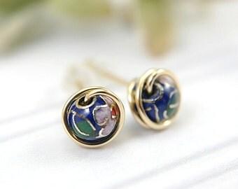 Blue cloisonne post earrings 14k gold filled medium size earrings wire wrapped flower motif earrings enamelled stud earrings dark blue 7mm