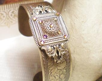 INTRIGUE - Embossed Brass Cuff Bracelet