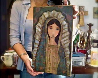 Virgin of Guadalupe  -  Fabric print mounted on Wood (11 x 17 inches) Folk Art  by FLOR LARIOS