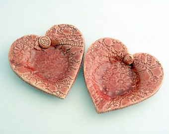 Red Ceramic heart dish set of two Made to order