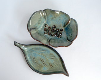 Flower with leaf Soap dish  Blue glaze Made to order