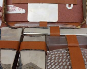 Vintage Mens Travel Kit Shaving Kit Leather SD
