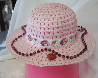 Strawberry Shortcake Easter Hat With Strawberry And Beads For A Tea Party Or Great Dress Up
